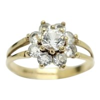 Vintage 1978 9ct Gold Spinel Cluster Daisy Ring, Size N