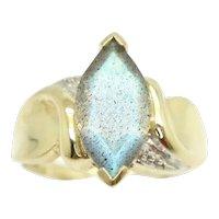 Unique 9Ct Yellow Gold 2 Ct Aurora Labradorite Solitaire Dress Ring, Size N 1/2