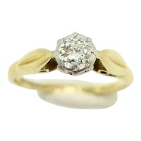 1966 Vintage 18Ct Gold Platinum Solitaire Diamond Engagement Ring, Size L