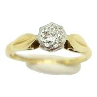 1966 Vintage 18Ct Gold Platinum Solitaire Diamond Engagement Ring, Size L