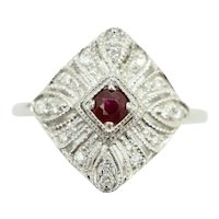 Art Deco Style 18Ct White Gold Ruby & Diamond Filigree Engagement Ring, Size M