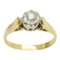 Vintage 18Ct Yellow Gold Solitaire Diamond Engagement Ring, Size I