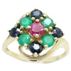 9ct Gold Ruby, Emerald & Sapphire Cluster Dress Ring, Size N