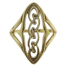 Large Vintage 9ct Yellow Gold Woven Celtic Knot Ring, Size T