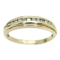 Vintage 9ct Gold 0.1 CTW Diamond Half Eternity Wedding Band Ring, Size O