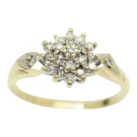 Vintage 18Ct Yellow Gold Diamond Cluster Ring, Size M 1/2