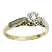 1971 Vintage 18Ct Yellow Gold Solitaire Diamond Engagement Ring, Size J