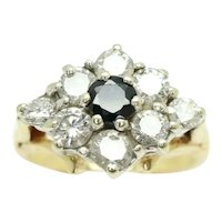Vintage 18Ct Yellow Gold 1 CTW Diamond & Sapphire Cluster Ring, Size K