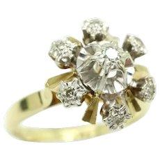 Vintage 14Ct Yellow Gold Snowflake Starburst Diamond Ring, Size N 1/2