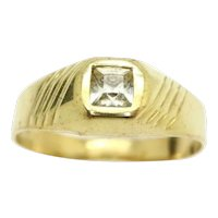 Vintage Unisex 18Ct Yellow Gold Square Stone Signet Ring, Size R
