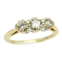 Fabulous 18ct Gold 0.25 CTW Diamond Three Stone Engagement Ring, Size K 1/2