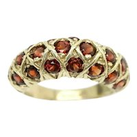 Impressive Vintage 3 Row Garnet Half Eternity Dress Ring, Size Q 1/2