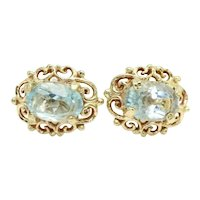 Vintage 9ct Gold 1.5 CTW Blue Topaz Oval Stud Filigree Earrings