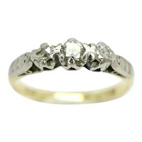 Vintage 18ct Gold & Platinum Trilogy Diamond Engagement Ring, Size M 1/2
