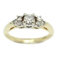 CORONA 14Ct Yellow Gold 0.25 CTW Diamond Cluster Engagement Ring, Size K