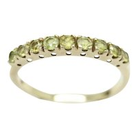 Vintage 9Ct Gold 9 Stone Peridot Half Eternity Stacking Ring, Size U