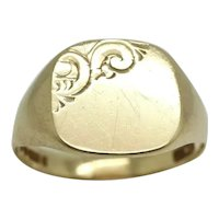 Unisex Vintage 1973 9Ct Yellow Gold Signet Ring, Size U, 4g