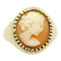 Vintage 1967 Ladies 9ct Yellow Gold Cameo Signet Ring, Size K 1/2