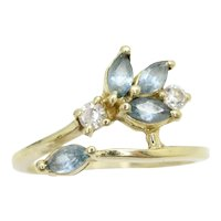 14Ct Gold Marquise Shaped Blue Topaz & CZ Flower Ring, Size N 1/2