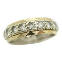 Vintage 9ct Gold Full Eternity Spinel Ring In White and Yellow Gold Size M
