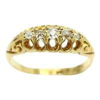 Antique 18ct Gold Five Stone Old Cut Diamond Gypsy Ring, Size K, 2.9g