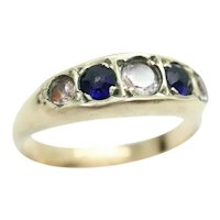 Antique 1900 9Ct Gold Blue Paste and Spinel 5 Stone Ring, Size N 1/2