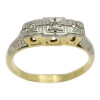 Antique Art Deco 18ct Gold Platinum LIFETIME Three Stone Diamond Ring, Size L