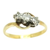 Art Deco 18Ct Gold Platinum Diamond Trilogy Crossover Bypass Ring, Size J