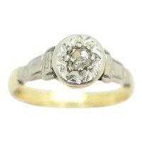 Vintage Art Deco 18Ct Gold Platinum Solitaire Old Cut Diamond Engagement Ring, Size K1/2