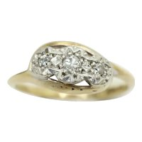 Art Deco 9Ct Gold Platinum 0.1 CTW Diamond Trilogy Crossover Ring, Size M
