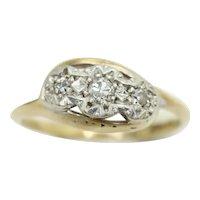 Art Deco 9Ct Gold Platinum 0.1 CTW Diamond Trilogy Crossover Ring, Size M