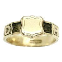 Antique 9Ct Rose Gold 'REGARD' Hair Panels Mourning Ring, Size N