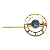 Antique Edwardian 10Ct Yellow Gold Blue Paste Stone Hat Pin