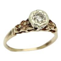 Vintage 1976 9Ct Gold 0.1 Ct Solitaire Diamond Engagement Ring, Size M 1/2