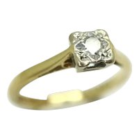 Vintage 18Ct Yellow Gold 0.1 Ct Solitaire Diamond Engagement Ring, Size L