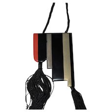 Art Deco Lacquered Metal Pendant on Silk Cord