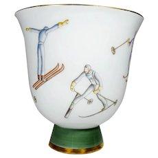 Gio Ponti for Richard Ginori Art Deco Porcelain Ski Vase  Italy 1930s