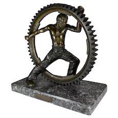 Social Realist Elektro Metal Worker & Cog Bronze Sculpture