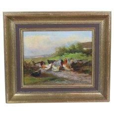 Oil on Canvas of Chickens in a Barn Yard by Jef Louis Van Leemputten
