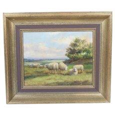 Oil on Canvas of Sheep by Jef Louis Van Leemputten