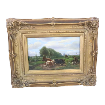 Late 19th Century Oil Painting on Panel of Cows in a Pasture
