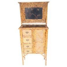 19th Century English Bamboo Vanity Cabinet