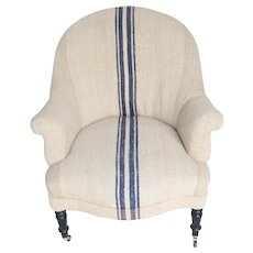 Napoleon III Armchair Upholstered in Vintage Fabric