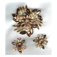 Magnificent Topaz Glass Crystal Brooch & Earring Set