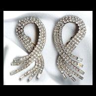 DIVA Crystal Round and Baguette Earrings - Unbelievable & Huge