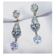 Beautiful Blue and Clear Crystal 40's Dangle Earrings - Must See!