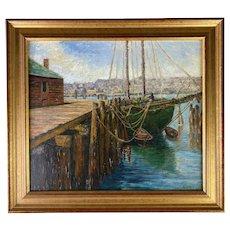 Jane Peterson (American, 1876-1965) O/B Green Schooner at Dock.