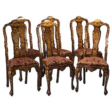 An exquisite set of six Dutch style Marquetry Dining Chairs