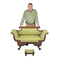 Fine & rare Neo-Classical child's carved Mahogany clawfoot Settee with diminutive Empire Footstool
