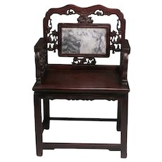 Fine Chinese Carved Rosewood & Marble Armchair.
